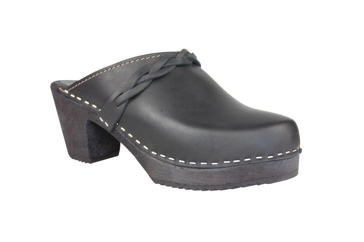 high heel clogs black with black base main