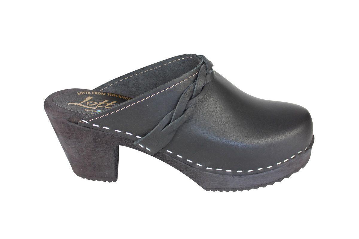 high heel clogs black with black base side 2