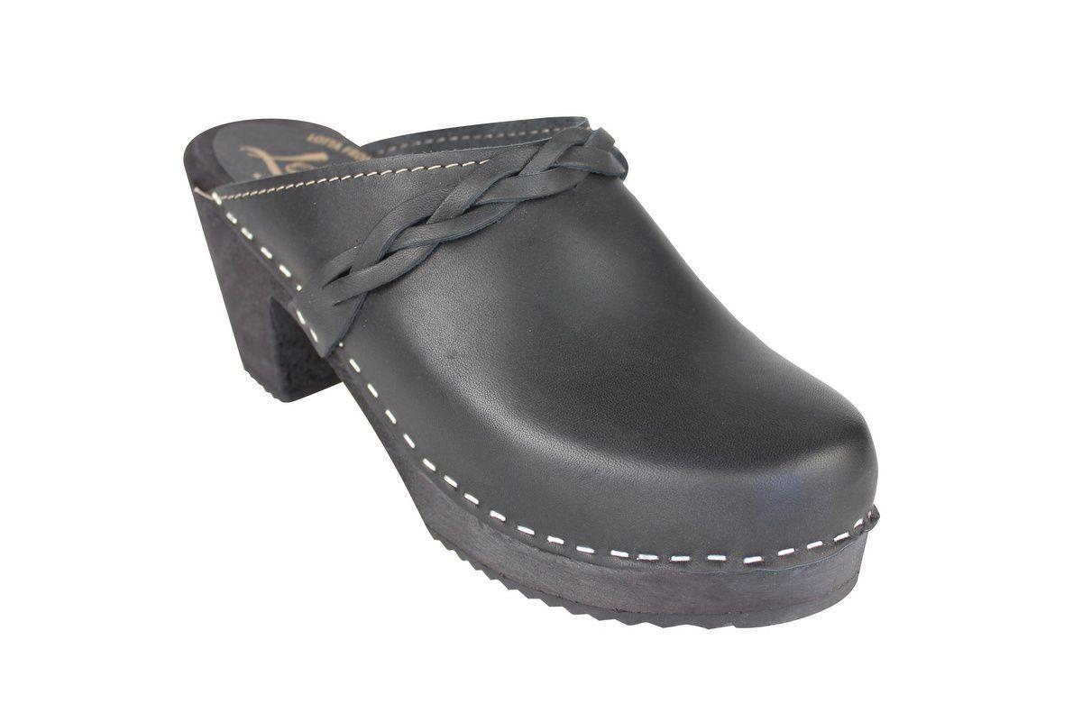 high heel clogs black with black base