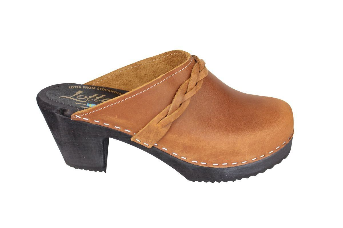 High Heel Classic Clog Brown Oiled Nubuck with Black Sole Side 2