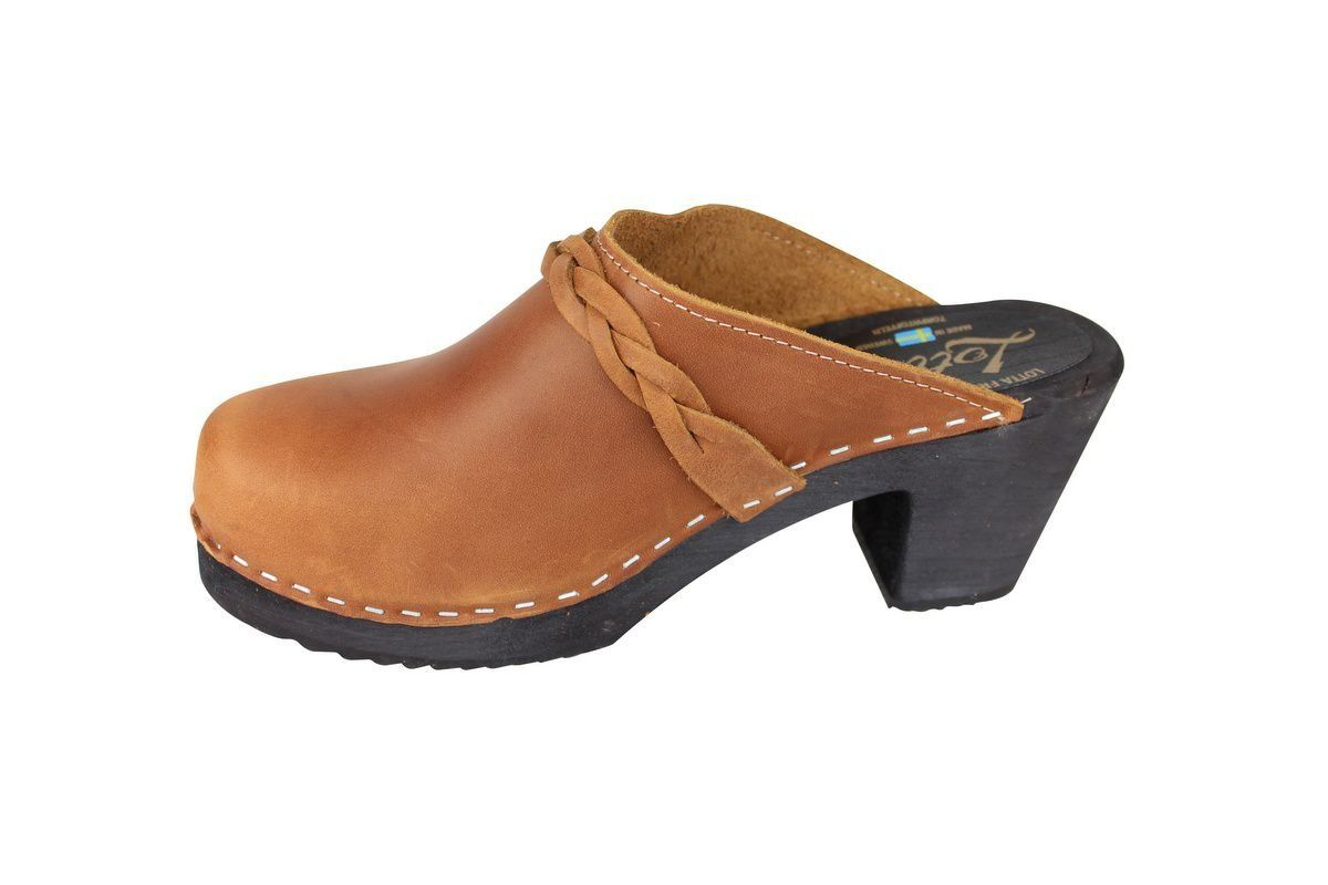 High Heel Classic Clog Brown Oiled Nubuck with Black Sole Rev Side 2