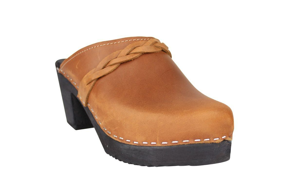 High Heel Classic Clog Brown Oiled Nubuck with Black Sole Main