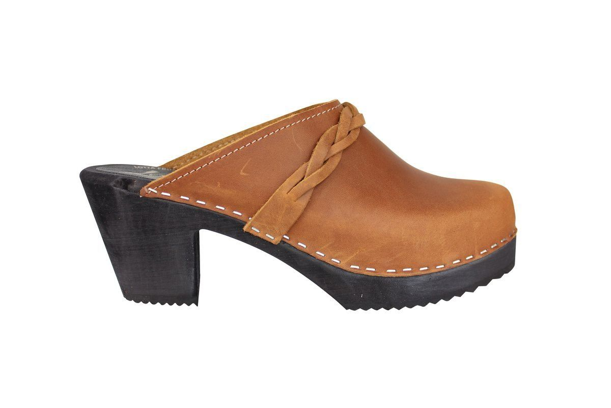 High Heel Classic Clog Brown Oiled Nubuck with Black Sole Side