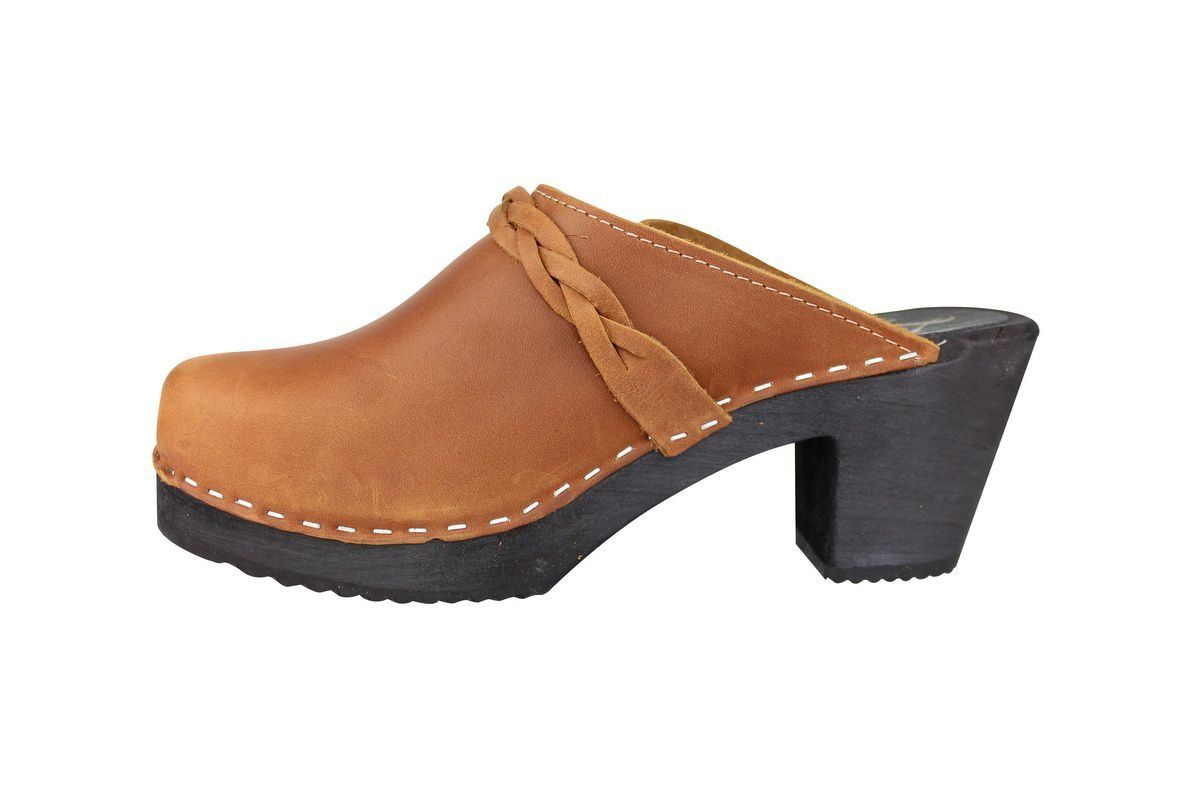 High Heel Classic Clog Brown Oiled Nubuck with Black Sole Rev Side