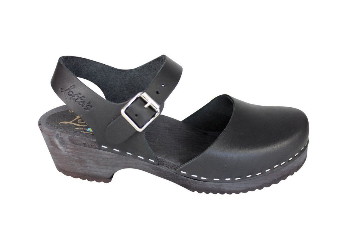 low wood black clogs with black sole side 2