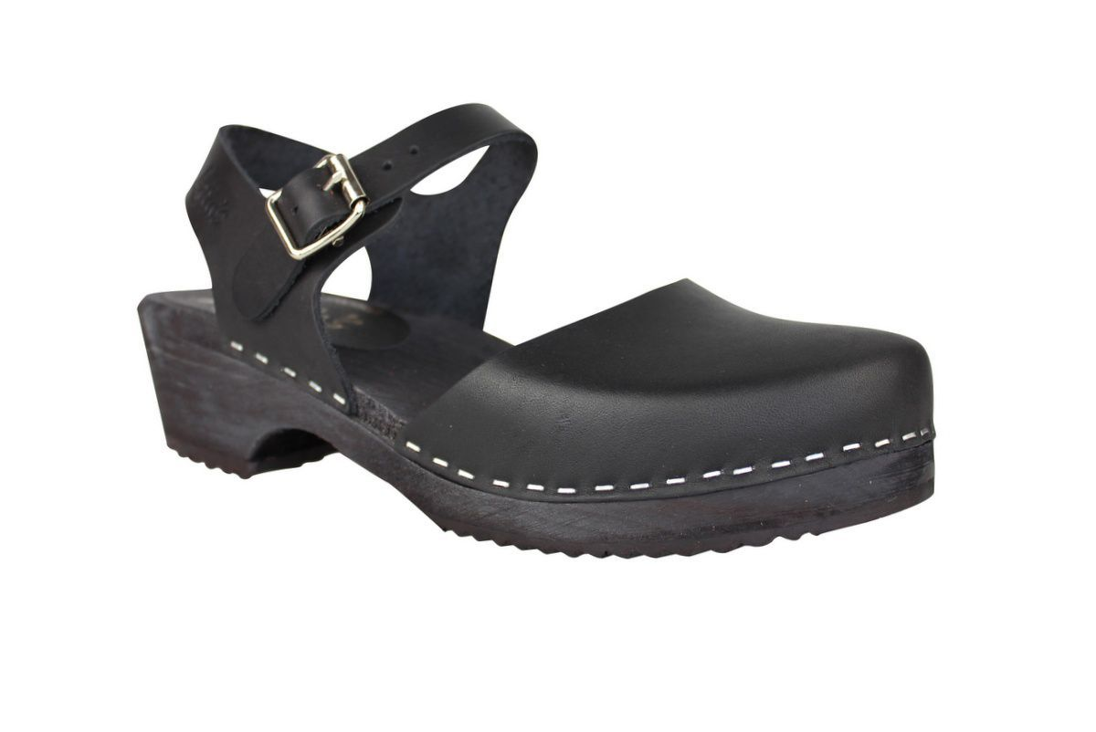 low wood black clogs with black sole main