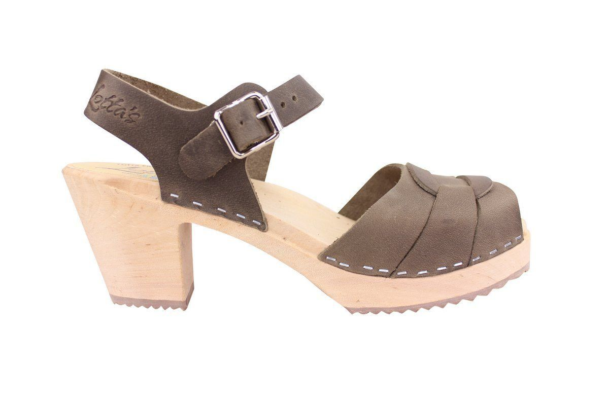 peep toe clogs dark taupe oiled nubuck side