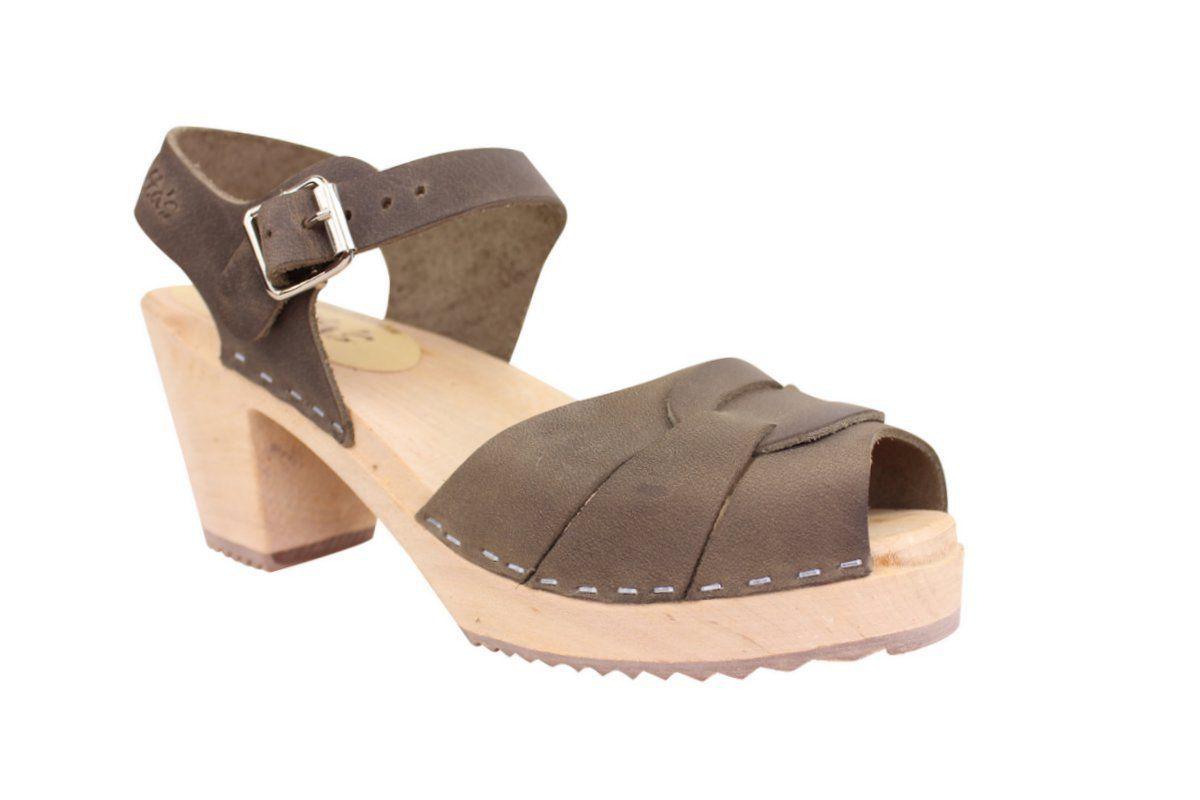 peep toe clogs dark taupe oiled nubuck main