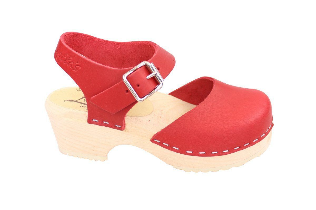 Little Lotta's Low Wood Red Clogs