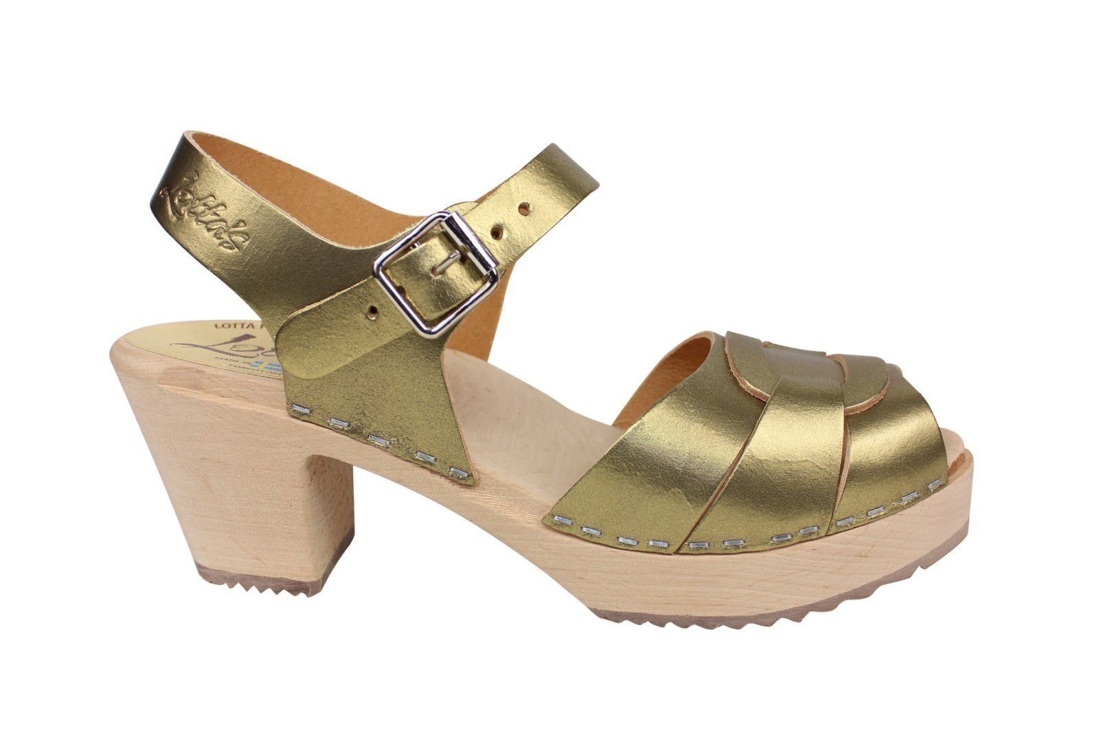 Lotta from Stockholm Peep Toe Antique Gold Side