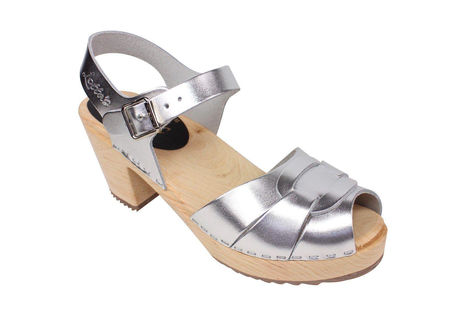 Lotta From Stockholm Silver Peep Toe Clog