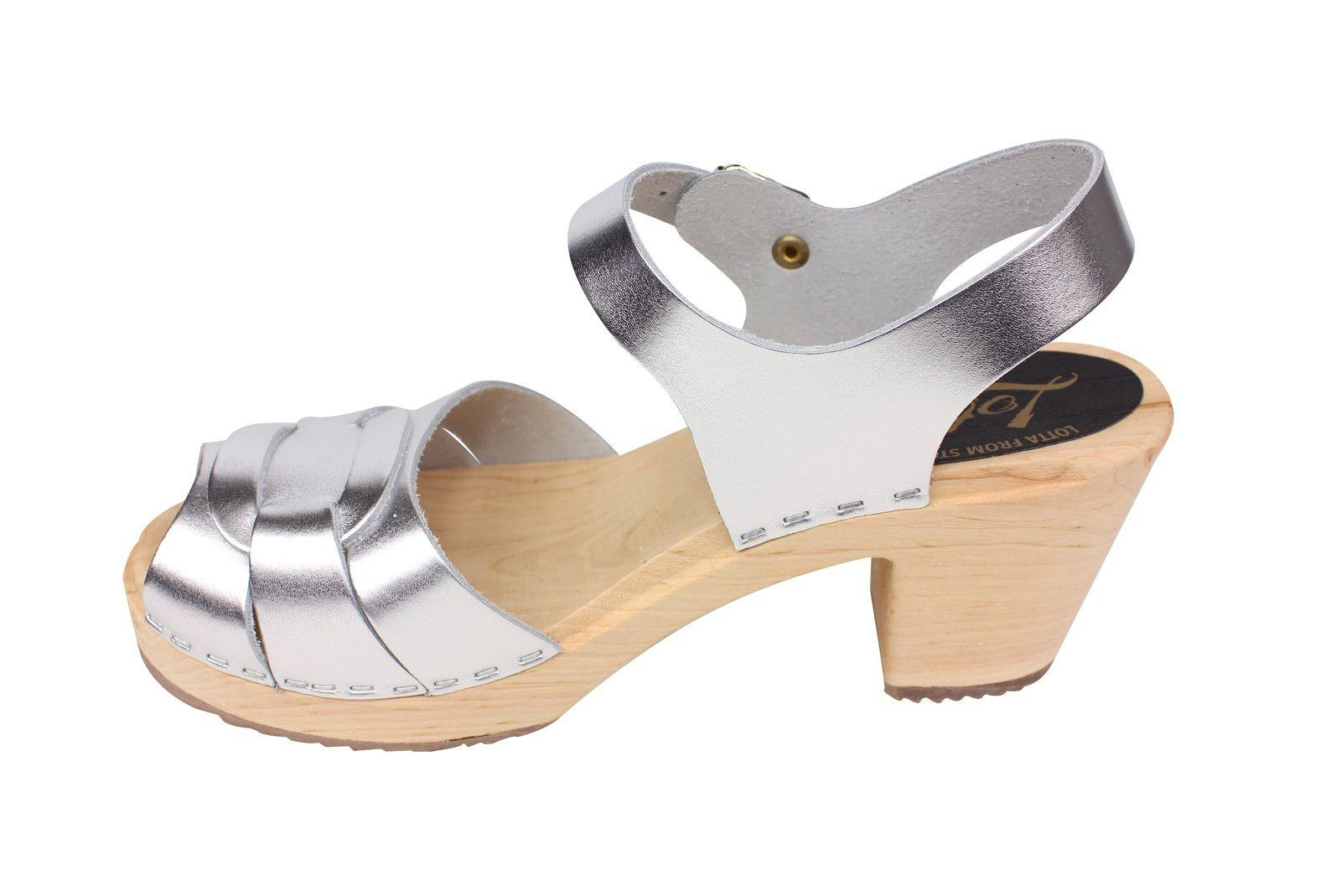Lotta From Stockholm Silver Peep Toe Clog Rev Side 2