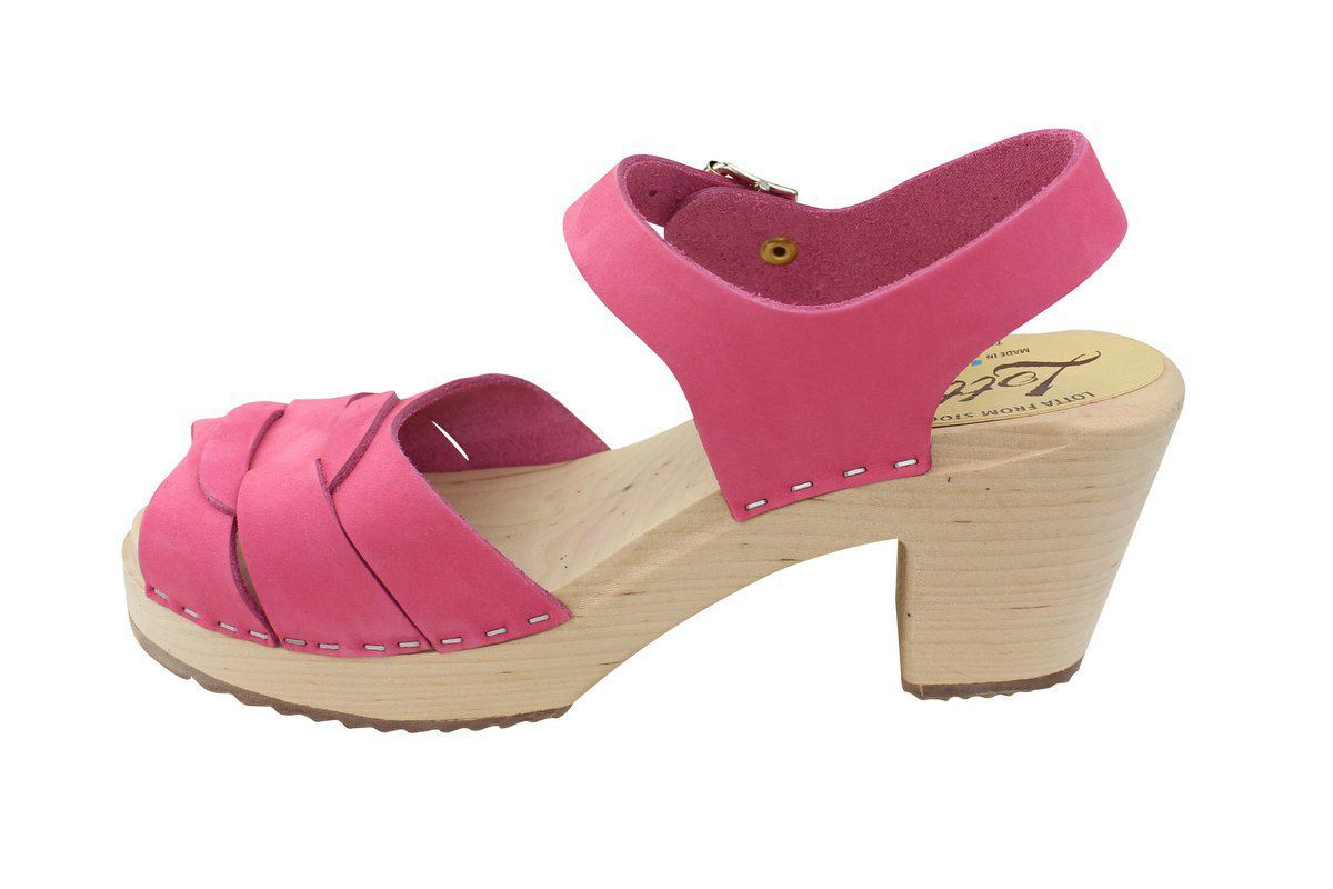 Lotta From Stockholm High Heel Peep Toe Pink Nubuck Rev Side 2
