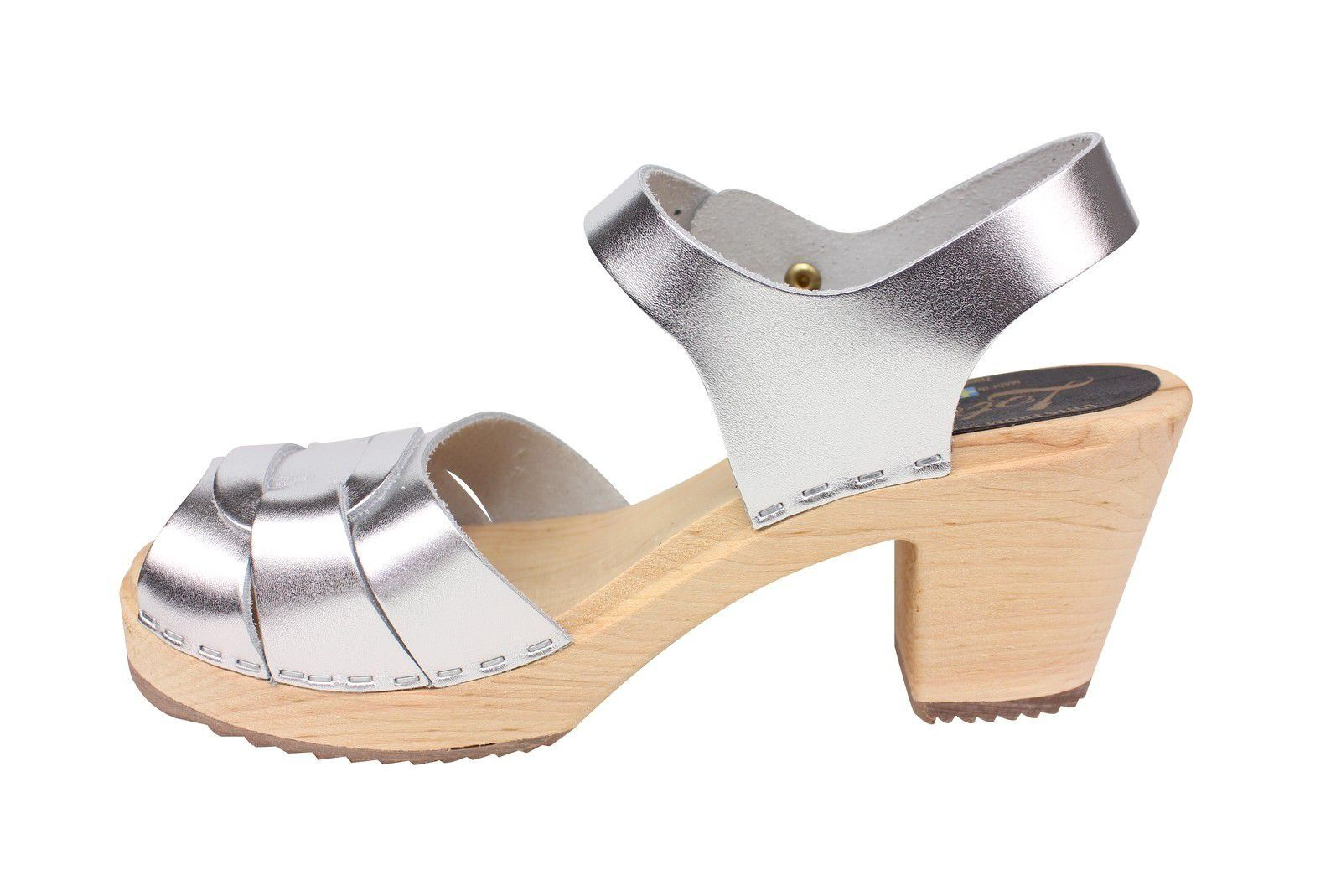 Lotta From Stockholm Silver Peep Toe Clog Rev Side