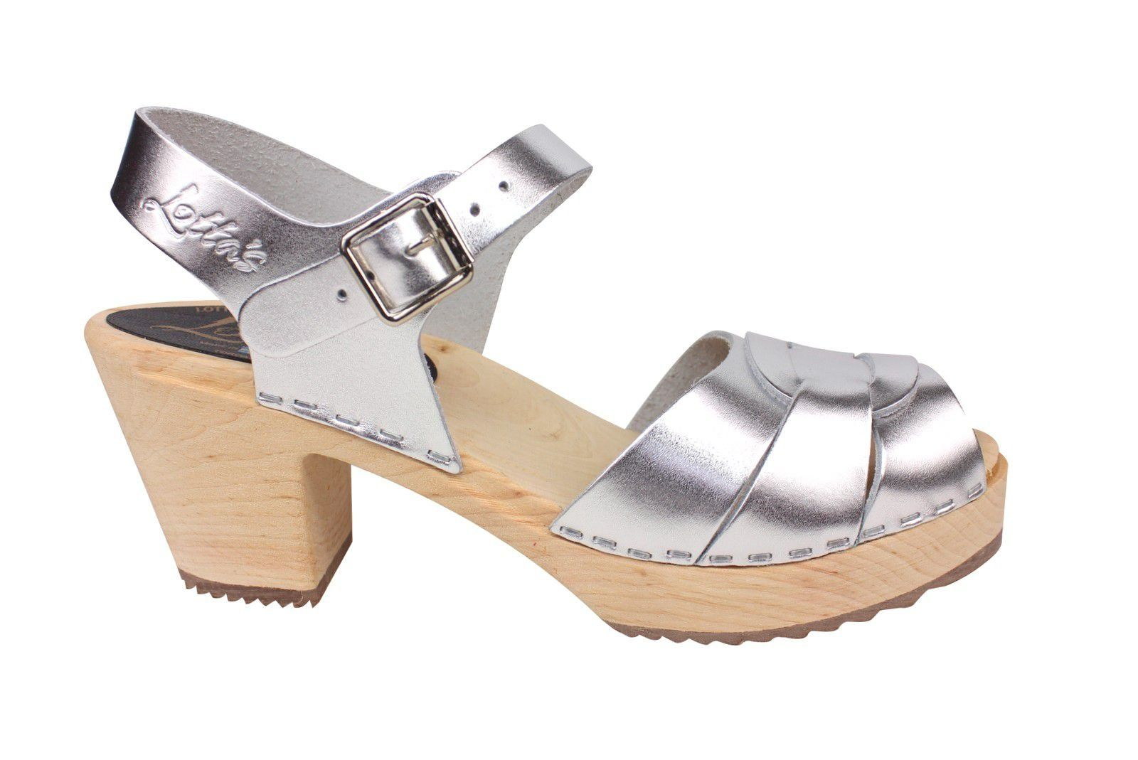 Lotta From Stockholm Silver Peep Toe Clog Side