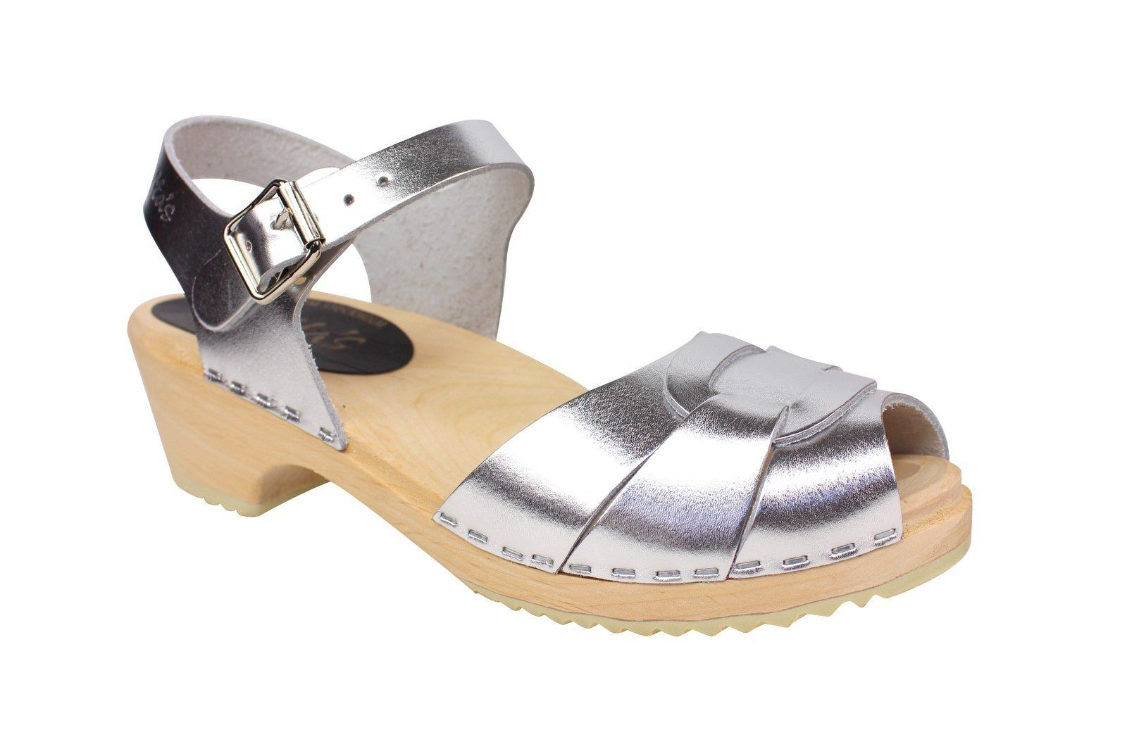 Lotta From Stockholm Low Heel Peep Toe in Silver Leather Main