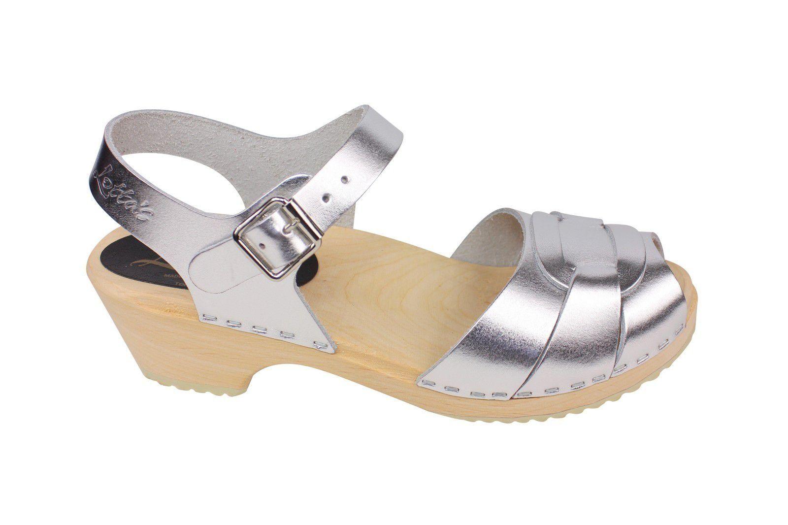 Lotta From Stockholm Low Heel Peep Toe in Silver Leather Side 2