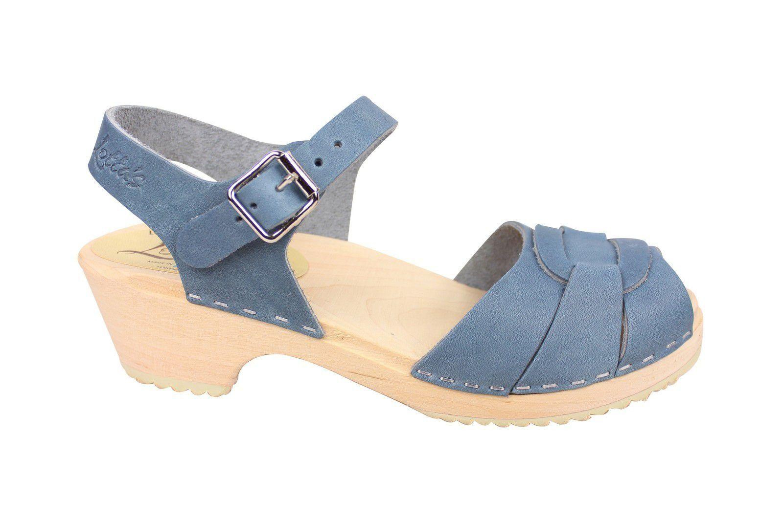 Lotta From Stockholm Low Heel Peep Toe in Steel Blue Leather Side