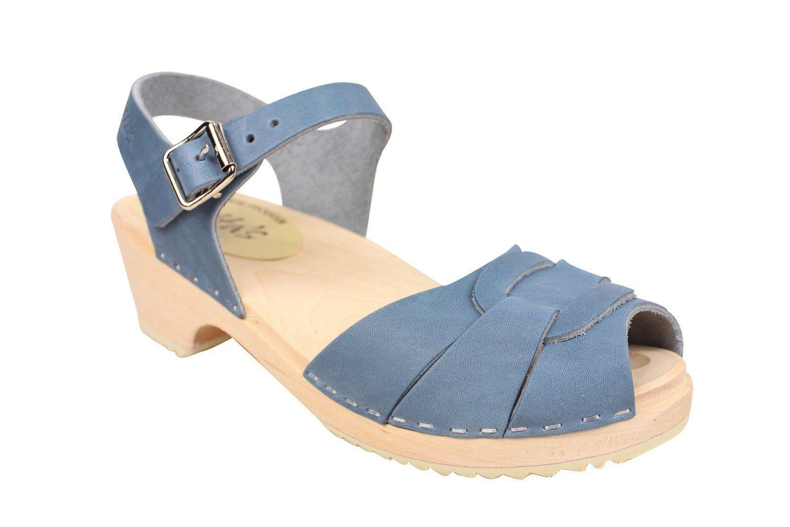 Lotta From Stockholm Low Heel Peep Toe in Steel Blue Leather Main