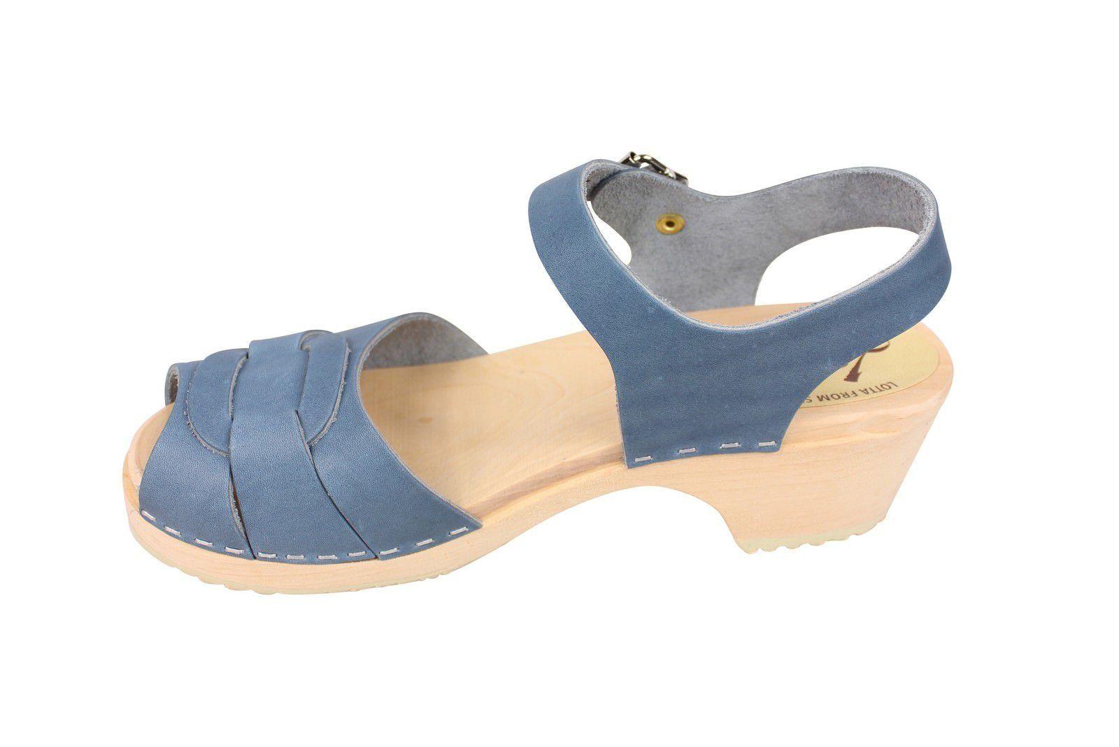 Lotta From Stockholm Low Heel Peep Toe in Steel Blue Leather Rev Side
