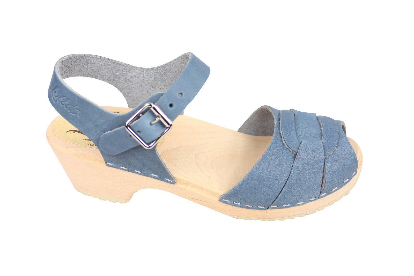 Lotta From Stockholm Low Heel Peep Toe in Steel Blue Leather Side 2