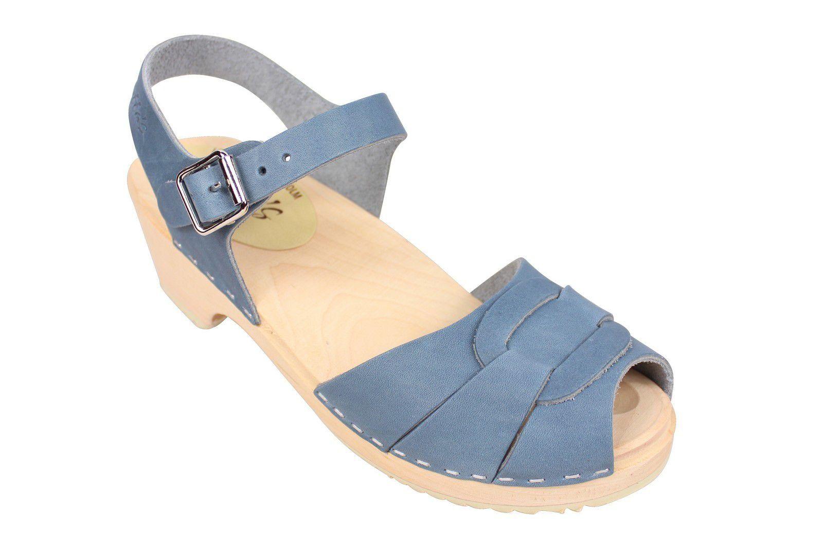 Lotta From Stockholm Low Heel Peep Toe in Steel Blue Leather