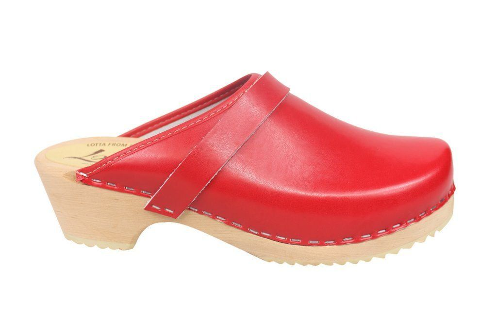 classic red clog side