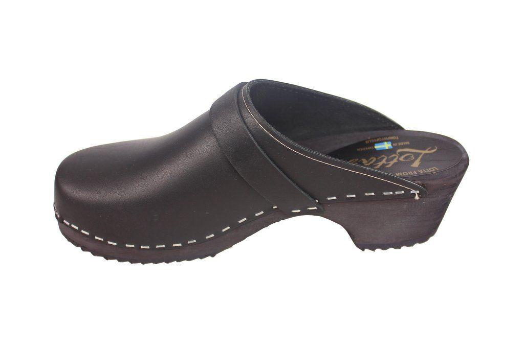 Classic Clog Black Leather Rev Side 2
