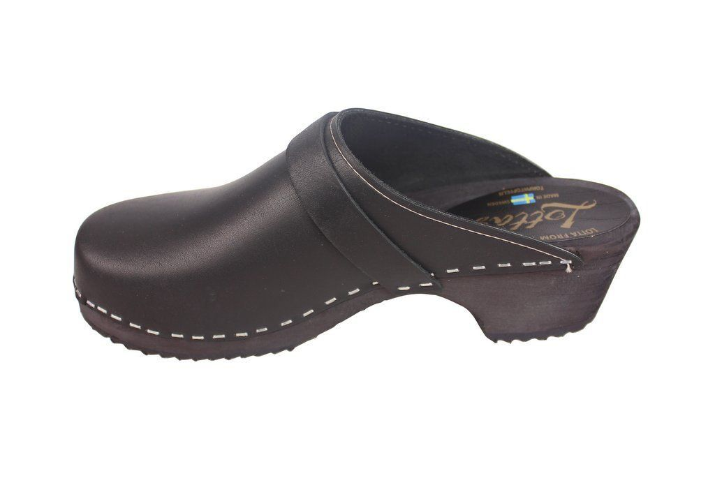 Classic Clog Black Leather Rev Side 2