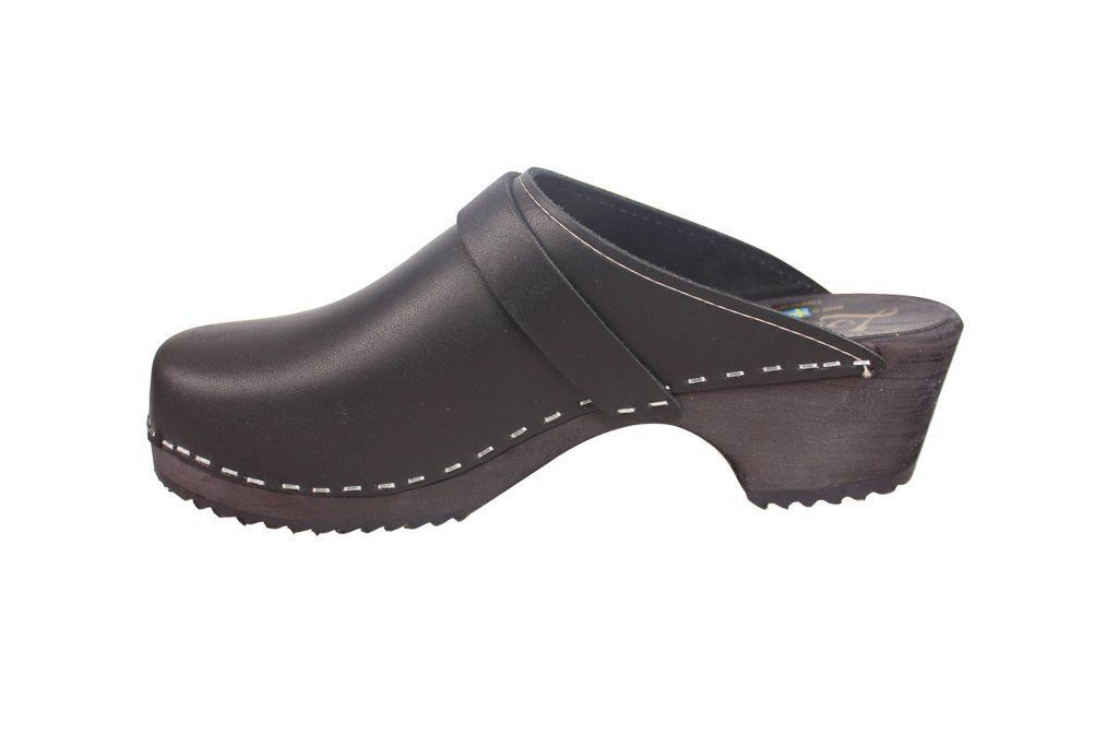Classic Clog Black Leather Rev Side