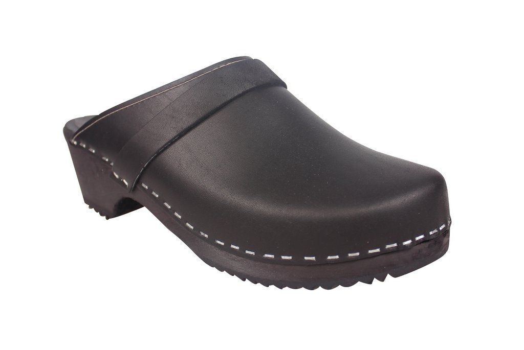 Classic Clog Black Leather Side 2