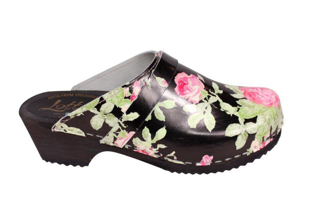 classic black rose clog side 2