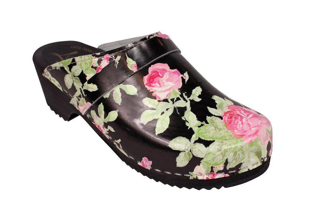 classic black rose clog