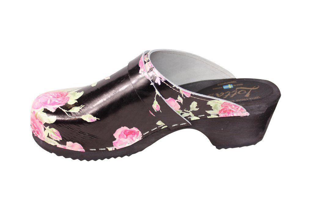 classic black rose clog rev side 2
