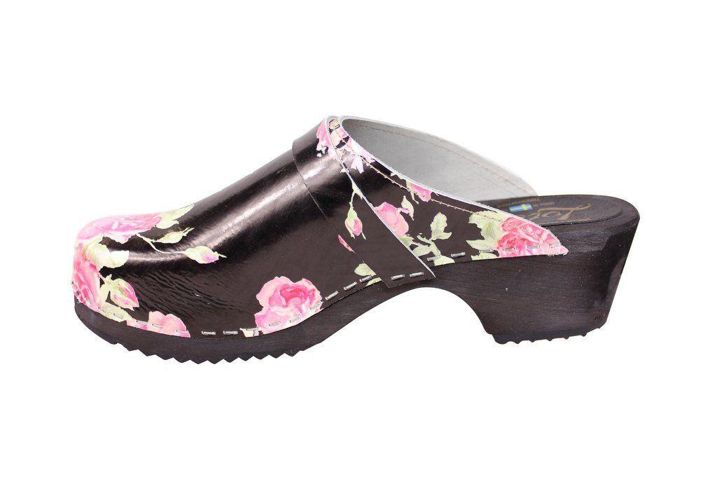 classic black rose clog rev side