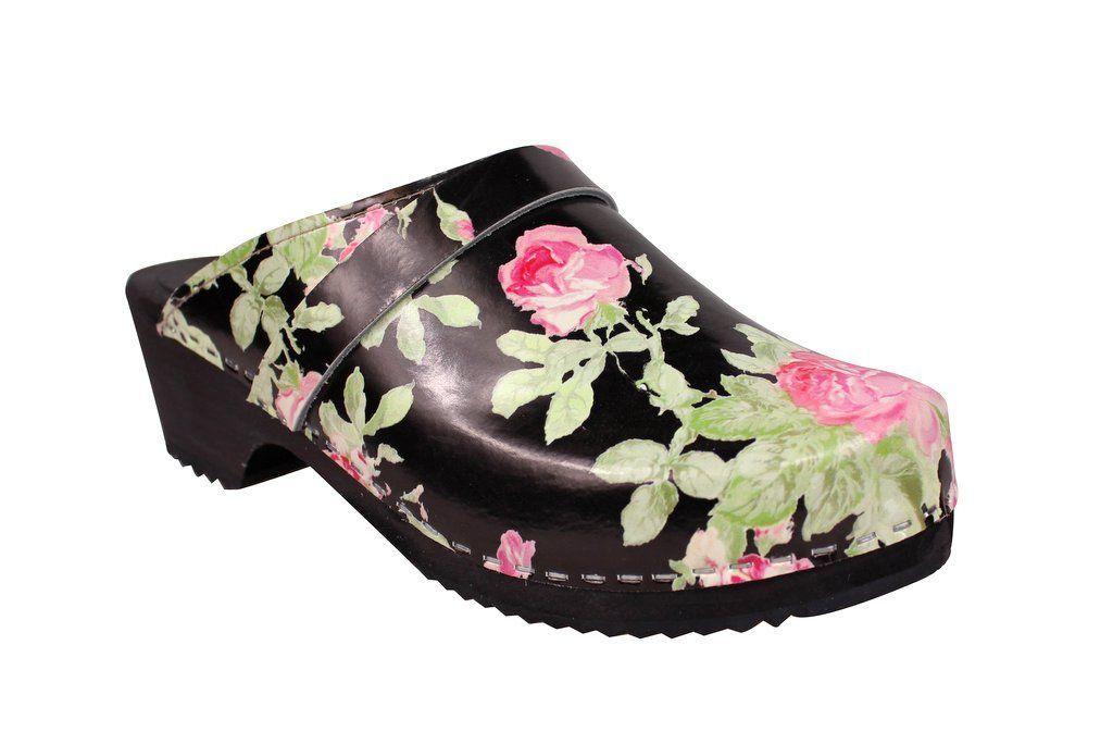 classic black rose clog main