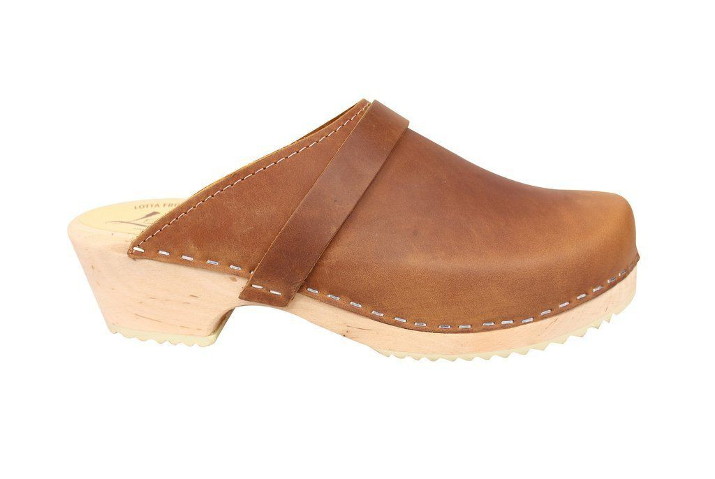 Classic Brown Oiled Nubuck Clogs Side
