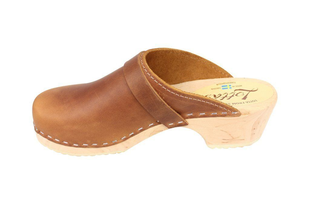 Classic Brown Oiled Nubuck Clogs Rev Side
