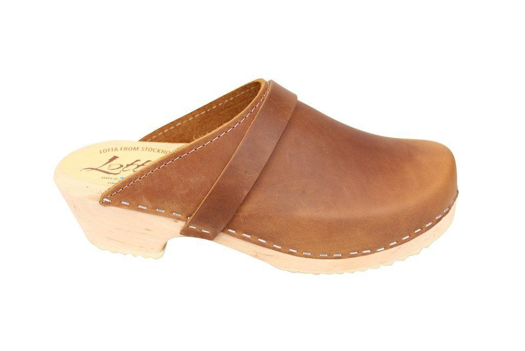 Classic Brown Oiled Nubuck Clogs Side 2
