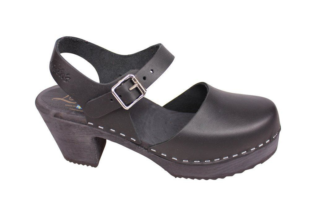 high wood black clog with painted black base side 2