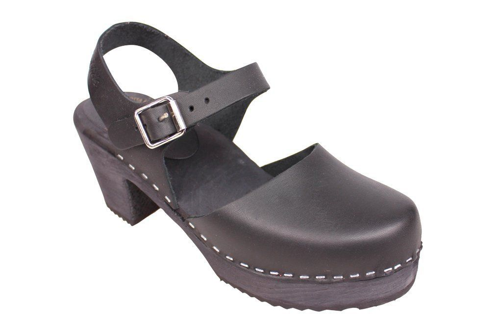 high wood black clog with painted black base