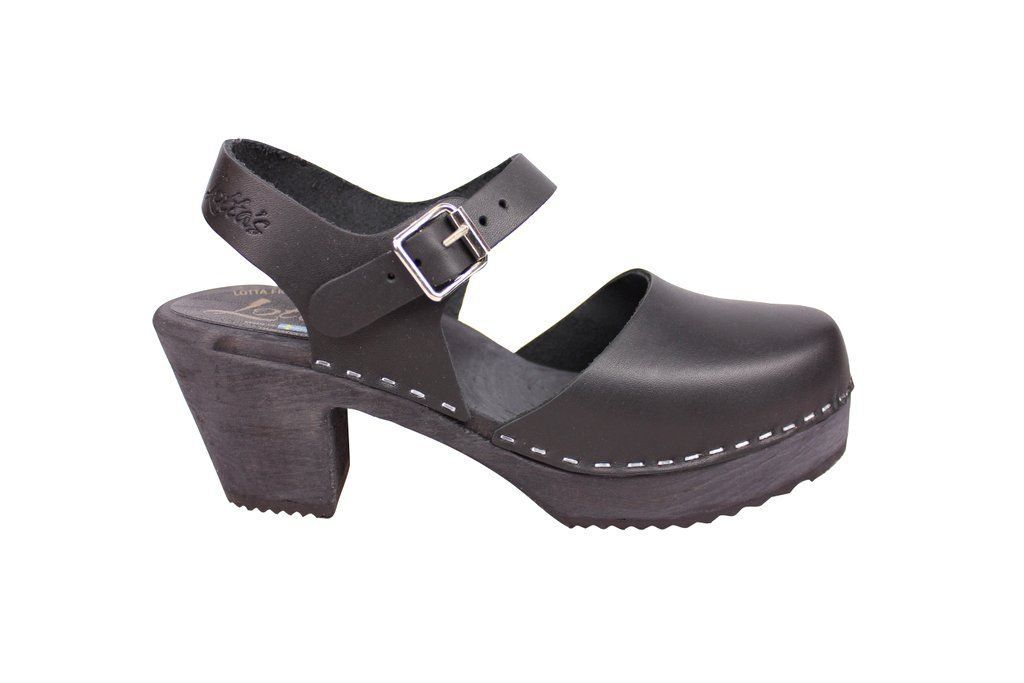 high wood black clog with painted black base side