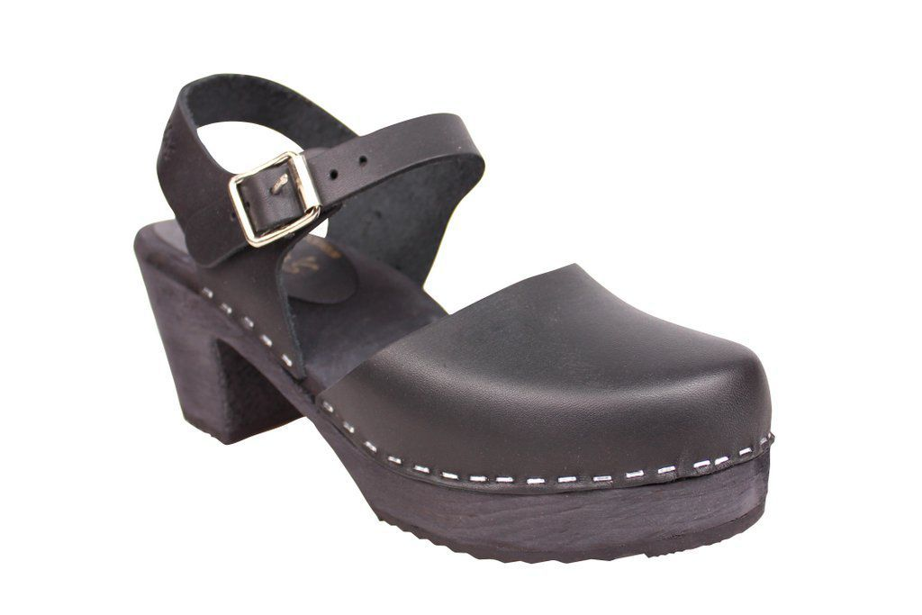 high wood black clog with painted black base main