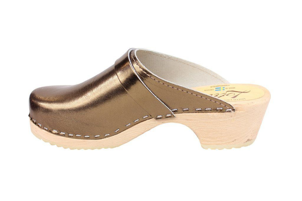 Torpatoffeln Classic Clog in Metallic Bronze Rev Side