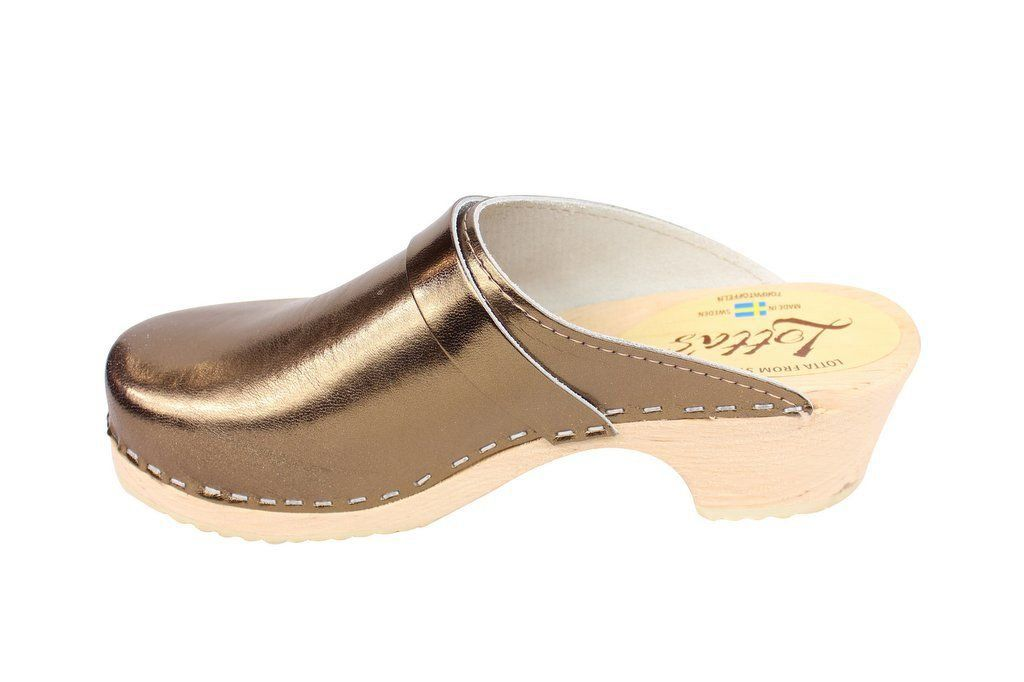 Torpatoffeln Classic Clog in Metallic Bronze rev Side 2