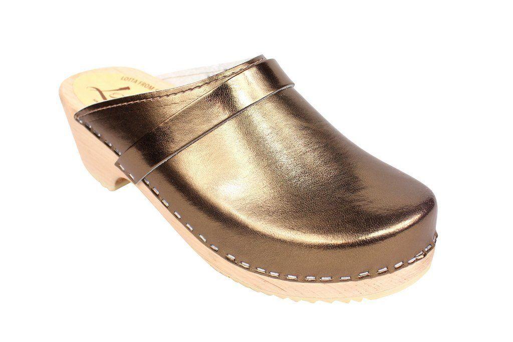 Torpatoffeln Classic Clog in Metallic Bronze