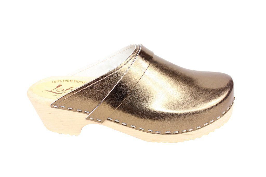 Torpatoffeln Classic Clog in Metallic Bronze Side