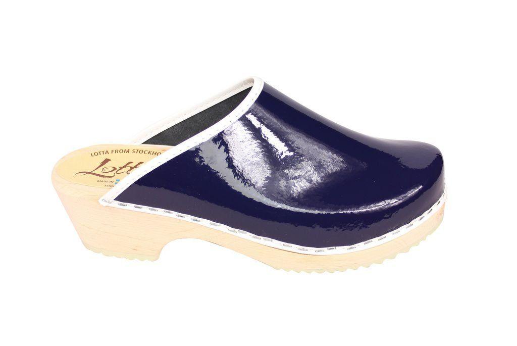 classic retro patent blue clogs side 2