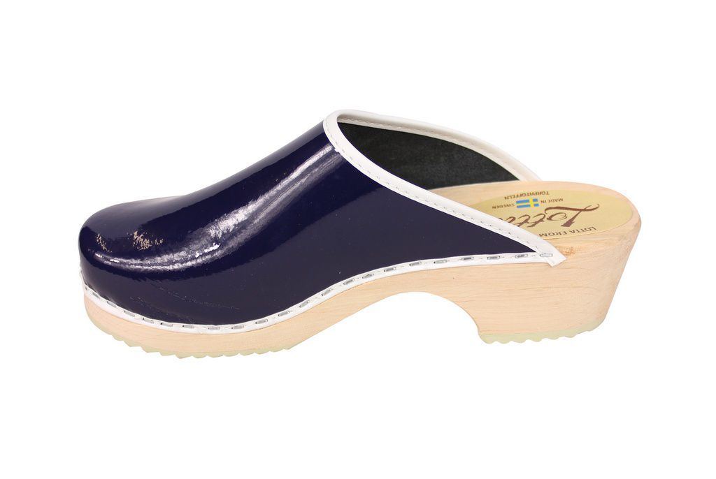 classic retro patent blue clogs rev side 2