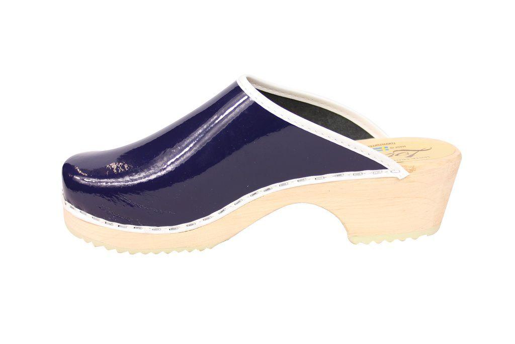 classic retro patent blue clogs rev side